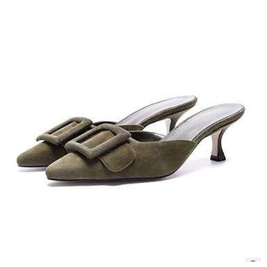 Confort Talon 06680327 Vert Bleu Cuir Eté Mules Femme Aiguille amp; Chaussures Sabot qTgnw1H