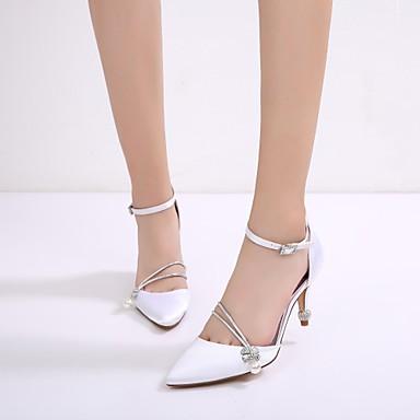 Bout Talon Escarpin Chaussures Satin Pièces Confort mariage Chaussures Deux D'Orsay Femme pointu Cône Basique 06701863 Strass amp; Printemps de x8WOZnqxdw