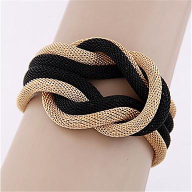abordables Bracelet-Bracelet Femme Noué Twist Circle dames Européen Mode énorme Bracelet Bijoux Dorée Noir Gris pour Quotidien Festival