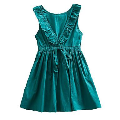 Χαμηλού Κόστους Φορέματα για κορίτσια-Νήπιο Κοριτσίστικα Βασικό Καθημερινά Μονόχρωμο Με Κορδόνια Αμάνικο Ως το Γόνατο Βαμβάκι Πολυεστέρας Φόρεμα Πράσινο του τριφυλλιού