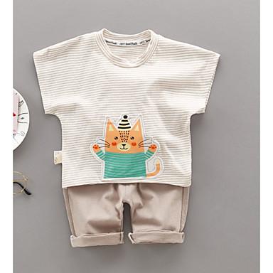 Bebelus Fete Activ Dungi Imprimeu Manșon scurt Bumbac Set Îmbrăcăminte / Copil