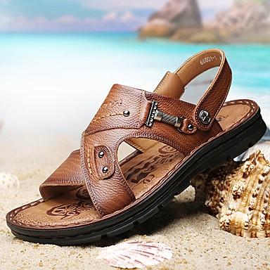 Bărbați Piele Vară Confortabili Sandale Maro / Kaki
