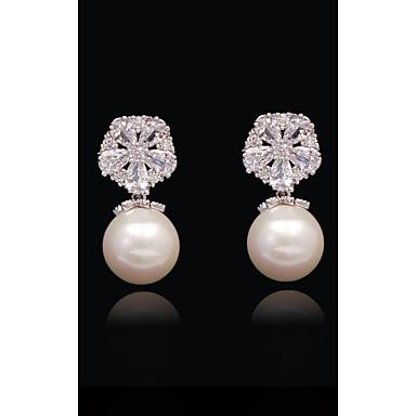 Pentru femei Cristal - Perle, Placat Auriu, S925 Sterling Silver Minge, Fulg Nuntă, European, Modă Alb și Argintiu Pentru Zilnic Concediu
