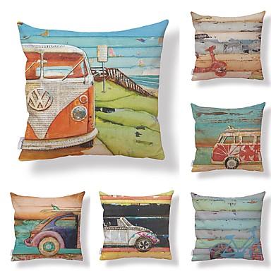 6 buc Textil / Bumbac / In Față de Pernă, Art Deco / Imprimeu Grafic / Imprimare Stil modern / Formă pătrată