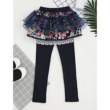 baratos Calças & Leggings para Meninas-Infantil Para Meninas De Renda Roupas de Festa Bordado Algodão Calças Rosa