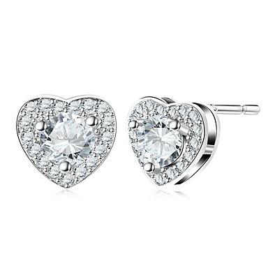 billige Moteøreringer-Diamant Kubisk Zirkonium liten diamant Øredobber Hjerte Puls damer Mote øredobber Smykker Sølv Til Bryllup Daglig