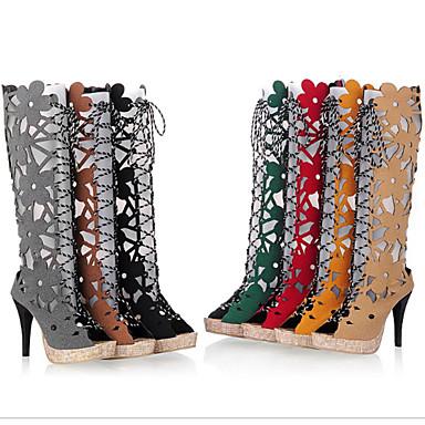 Bottes Talon mollet été Printemps ouvert Bottes Polyuréthane Chaussures Femme Rouge Vert 06680350 Nouveauté Bottes Bout Mi Aiguille la à Mode vqwaWztxO