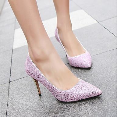 à Automne pointu été Talons Blanc Talon Paillettes Violet 06674063 Aiguille Confort Femme Printemps Chaussures Chaussures Bout Paillette Rose E7x0q8Sgw