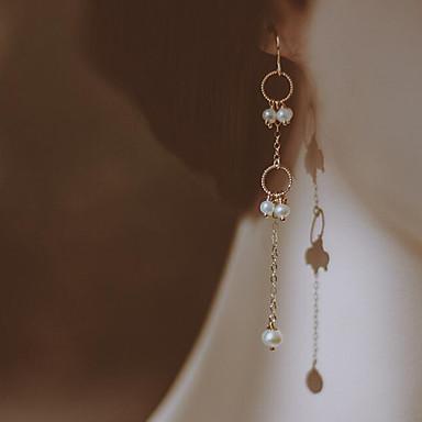 povoljno Modne naušnice-Žene Slatkovodni biser Viseće naušnice Jednostavan Moda Pozlaćeni Slatkovodni biser Naušnice Jewelry Obala Za Dnevno Spoj