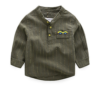 رخيصةأون كنزات الأولاد-قميص كم طويل مخطط رياضي Active للصبيان أطفال
