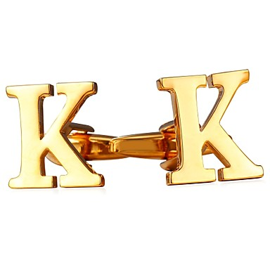 Letter Silver / Golden Cufflinks Copper Fashion Men's Costume Jewelry For Daily