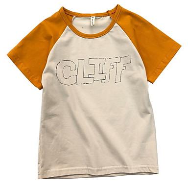 Dzieci Dla dziewczynek Podstawowy Kolorowy blok Krótki rękaw Poliester T-shirt Brązowy 100