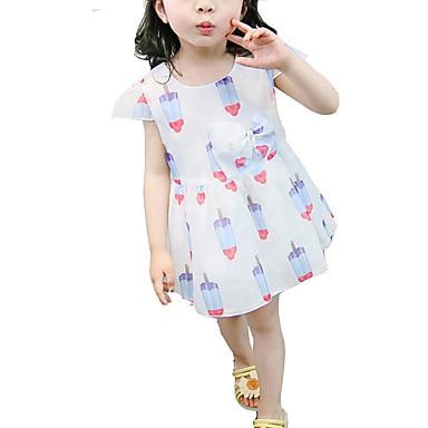 Brzdąc Dla dziewczynek Aktywny / Słodkie Urodziny Geometric Shape Nadruk Krótki rękaw Nad kolano Bawełna / Poliester Sukienka Niebieski