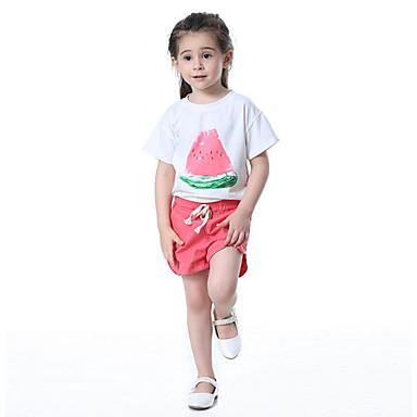 Dzieci / Brzdąc Dla dziewczynek Aktywny / Podstawowy Sport Nadruk / Owoc Nadruk Krótki rękaw Bawełna Komplet odzieży