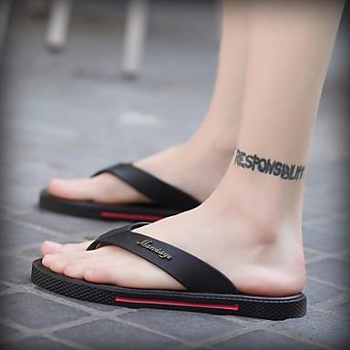 Męskie Komfortowe buty Skóra PVC Lato Klapki i japonki Czarny / brązowy