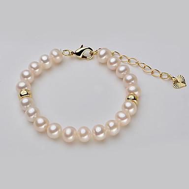abordables Bracelet-Bracelet à Perles Femme Perle Perle d'eau douce Plaqué or Perle d'eau douce dames simple Coréen Mode Bracelet Bijoux Dorée Forme de Cercle pour Soirée Cadeau