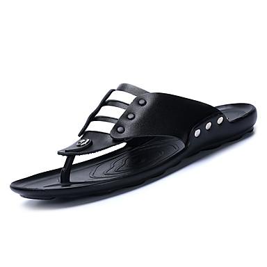 Męskie Komfortowe buty Syntetyczny Microfiber PU / Derma Lato Klapki i japonki Biały / Czarny / brązowy