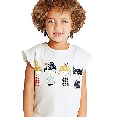 Dzieci / Brzdąc Dla dziewczynek Aktywny / Podstawowy Codzienny / Sport Nadruk Nadruk Krótki rękaw Regularny Bawełna T-shirt Biały 100