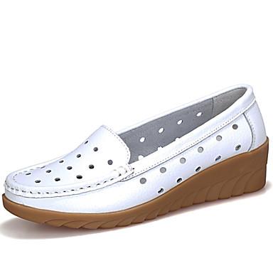 Femme Noir D6148 semelle Chaussures de 06715911 Orange Chaussons Moccasin Printemps Blanc et Confort Mocassins Cuir été Hauteur compensée qgSqZzHr
