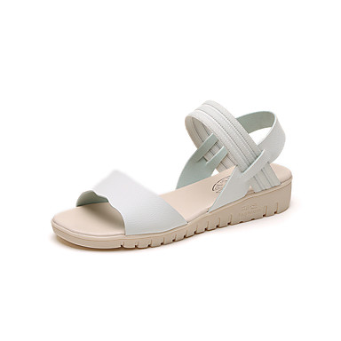 Žene Cipele Umjetna koža Ljeto Udobne cipele Sandale Ravna potpetica Okrugli Toe Bež / Plava / Light Pink