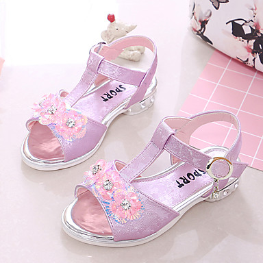 Fete Pantofi PU Vară Confortabili Sandale Plimbare Cataramă / Flori pentru Copii Mov Deschis / Roz / Albastru Deschis