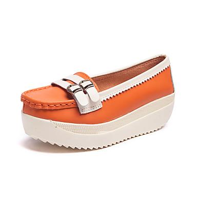 Pentru femei Pantofi Piele Vară Confortabili Tocuri Toc Platformă Portocaliu / Galben Deschis / Albastru