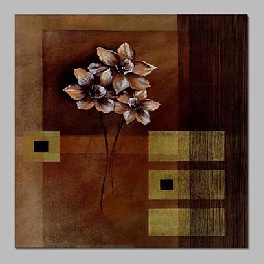 Hang-Malowane obraz olejny Ręcznie malowane - Abstrakcja / Kwiatowy / Roślinny Tradycyjny Płótno / Rozciągnięte płótno