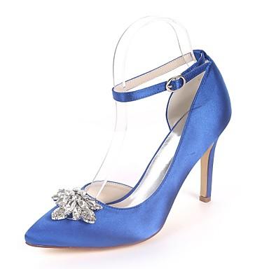 Pentru femei Pantofi Satin Primavara vara Balerini Basic pantofi de nunta Toc Stilat Vârf ascuțit Piatră Semiprețioasă Bleumarin / Maro