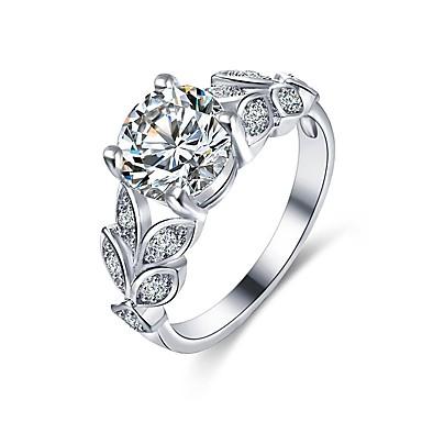 billige Motering-Dame Band Ring / Micro Pave Ring Diamant / Kubisk Zirkonium / liten diamant Sølv Kobber Uregelmessig damer / Klassisk / Mote Bryllup / Engasjement / Daglig Kostyme smykker / Blad Formet
