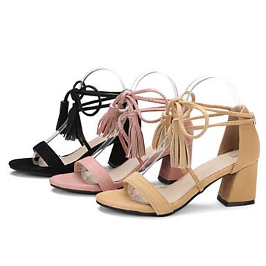 Gland Noir Femme Confort Sandales Cuir Rose ouvert Talon Bout Nubuck Chaussures 06671808 Printemps Amande Bottier été Nouveauté xp74wfq