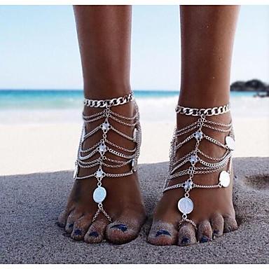 voordelige Dames Sieraden-Dames Blote voeten sandalen voeten sieraden Munt Dames Klassiek Vintage Enkelring Sieraden Zilver Voor Bikini