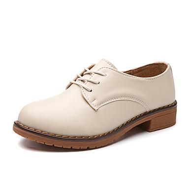Pentru femei Pantofi Piele Originală / Piele Primavara vara Confortabili Oxfords Toc Jos Negru / Bej / Maro
