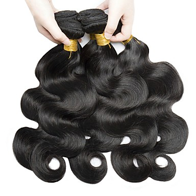 baratos Extensões de Cabelo Natural-6 pacotes Cabelo Malaio Onda de Corpo 8A Cabelo Humano Não processado Cabelo Natural Peça para Cabeça Cabelo Humano Ondulado Cuidados com Cabelo 8-28 polegada Côr Natural Tramas de cabelo humano