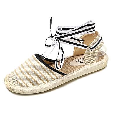 Tobillo Sandalias Zapatos Verano Beige Negro Tacón Mujer redondo Tira Plano A en Tela Rayas el 06755347 Dedo Uqx4wY