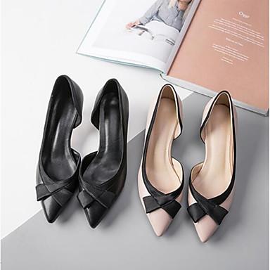 Peau Chaussures Printemps à Chaussures de mouton Bout Talon été fermé Talons Femme 06770032 Noir Confort Bas Rose qIW5dnI