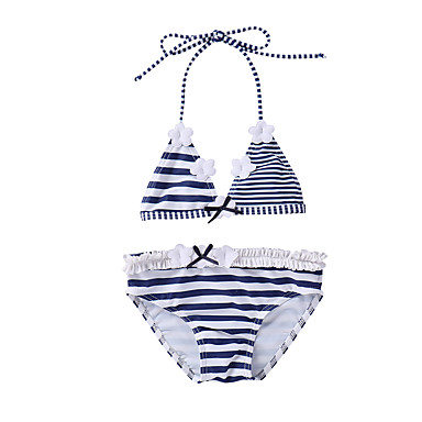 Bambino (1-4 Anni) Da Ragazza Spiaggia Blu E Bianco A Strisce Senza Maniche Poliestere - Nylon - Elastene Costumi Da Bagno Blu #06746436 Conveniente Da Cucinare