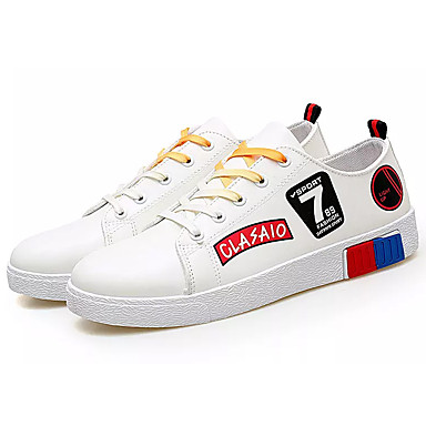 Men's White Light Soles PU(Polyurethane) Spring &  Fall Sneakers White Men's / Black / Red 685db7