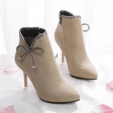 Mujer Botas 06755468 Confort Zapatos Invierno Stiletto Ante Almendra Tacón Negro axpr4qaw