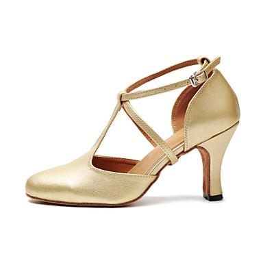 baratos Shall We® Sapatos de Dança-Mulheres Sapatos de Dança Couro Ecológico Sapatos de Dança Moderna Presilha Salto Salto Cubano Dourado / Preto / Ensaio / Prática