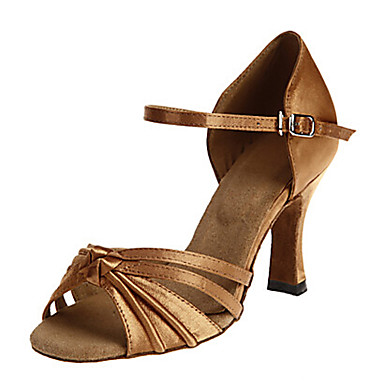 Women's Latin Shoes Out Satin Sandal Sided Hollow Out Shoes Cuban Heel Dance Shoes Dark Brown 950da1