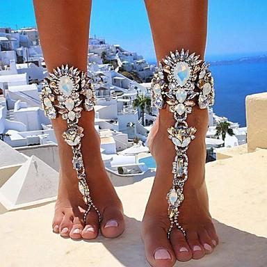 halpa Puvun korut-Naisten Barefoot-sandaalit jalkojen korut Paksu ketju naiset Eurooppalainen Bikini Italia Timanttijäljitelmä Nilkkaremmi Korut Kulta / Hopea Käyttötarkoitus Päivittäin Bikini Cosplay-asut