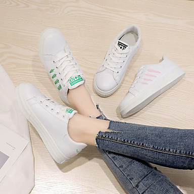deporte blanco Rosado Negro Zapatos Mujer redondo Plano PU de Primavera Zapatillas 06758443 Verde verano y Blanco y Dedo Confort Tacón Blanco a0Aw7aq