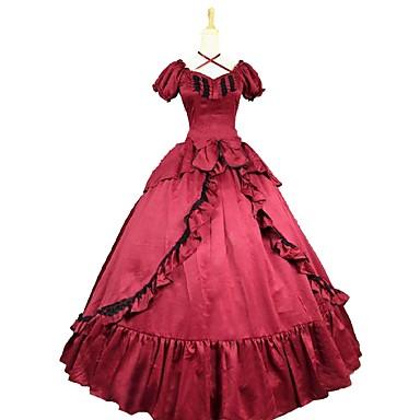 Rococo Βικτωριανής Εποχής Costume Pentru femei Rochii Roșu / negru Vintage Cosplay Amestec Bumbac Manșon scurt Mâneci Bufante