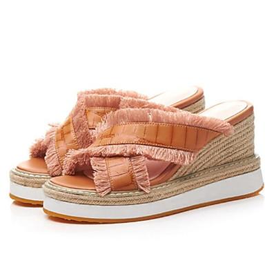 Chaussures Sandales Eté Femme Bout mouton Marron Blanc Confort ouvert 06770550 Talon Plat Peau de pHYxdxaq