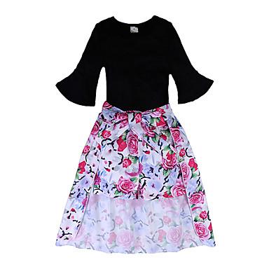 Copil Fete Floral Lungime Manșon 3/4 Set Îmbrăcăminte