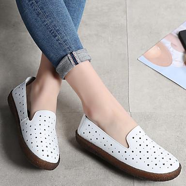 Talon Plat D6148 été Chaussures Confort Chaussons 06735607 Blanc et Femme Cuir Noir Printemps Mocassins vzBfxq