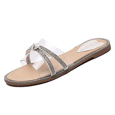 Pentru femei Pantofi PU Vară Confortabili Papuci & Flip-flops Toc Drept Vârf rotund Piatră Semiprețioasă Negru / Argintiu