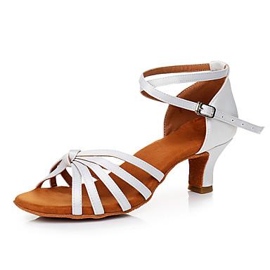 Pentru femei Pantofi Dans Latin Satin Adidași Toc Cubanez Personalizabili Pantofi de dans Alb