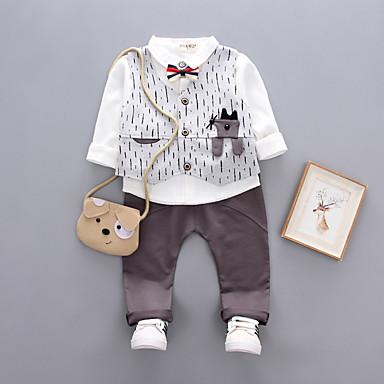 5a39cc9efd3 Μωρό Αγορίστικα Ενεργό Καθημερινά / Αθλητικά Στάμπα Κοντομάνικο Κανονικό  Βαμβάκι Σετ Ρούχων Γκρίζο
