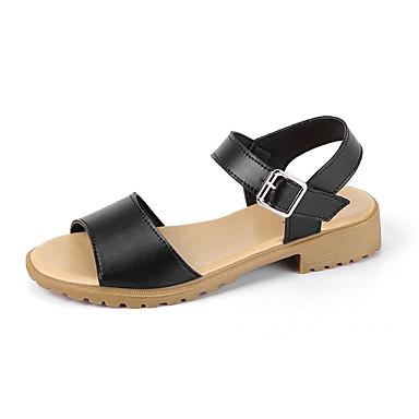 Negro 06734463 Punta Tacón Bajo Verano Almendra Beige Zapatos Mujer Confort Sandalias PU abierta zaW7F